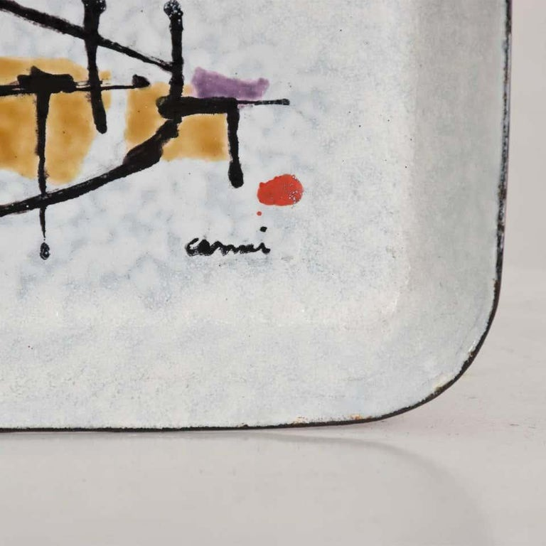 Mid-20th Century Abstract Modernist Petite Enamel Tray Artwork by Artist Eugenio Carmi 1950 Italy For Sale