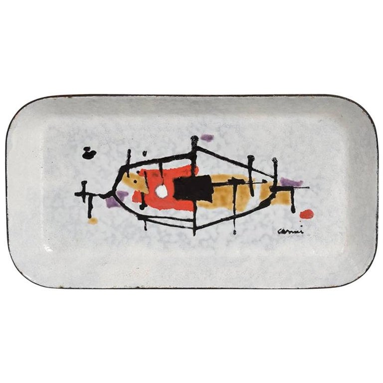 Abstract Modernist Petite Enamel Tray Artwork by Artist Eugenio Carmi 1950 Italy For Sale
