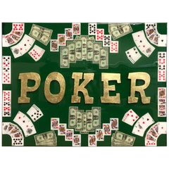 Abstract Money Poker Game Oil Painting With Resin on Canvas by Franchy