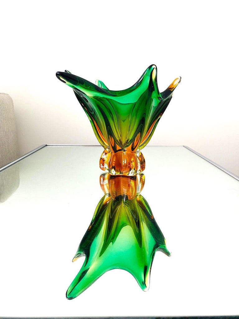 Mid-Century Modern Abstract Murano Sommerso Vase or Bowl in Emerald Green & Orange, Italy, c. 1950 For Sale