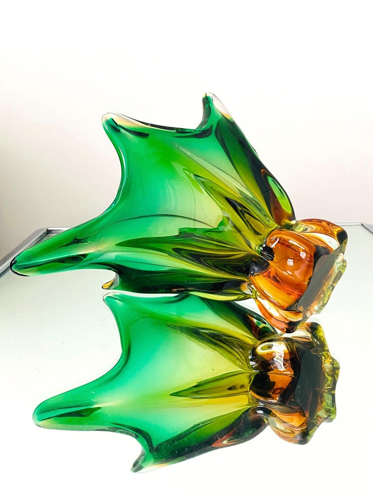 Italian Abstract Murano Sommerso Vase or Bowl in Emerald Green & Orange, Italy, c. 1950 For Sale