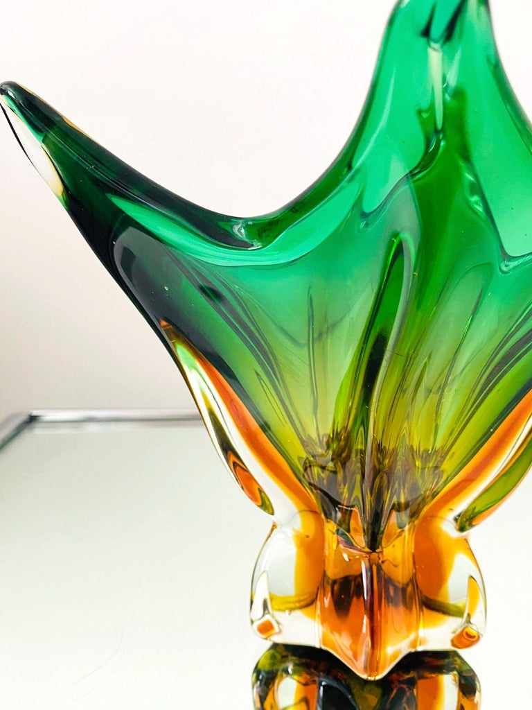 Abstract Murano Sommerso Vase or Bowl in Emerald Green & Orange, Italy, c. 1950 For Sale 1
