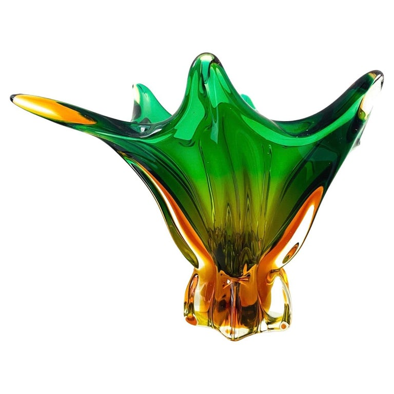 Abstract Murano Sommerso Vase or Bowl in Emerald Green & Orange, Italy, c. 1950 For Sale