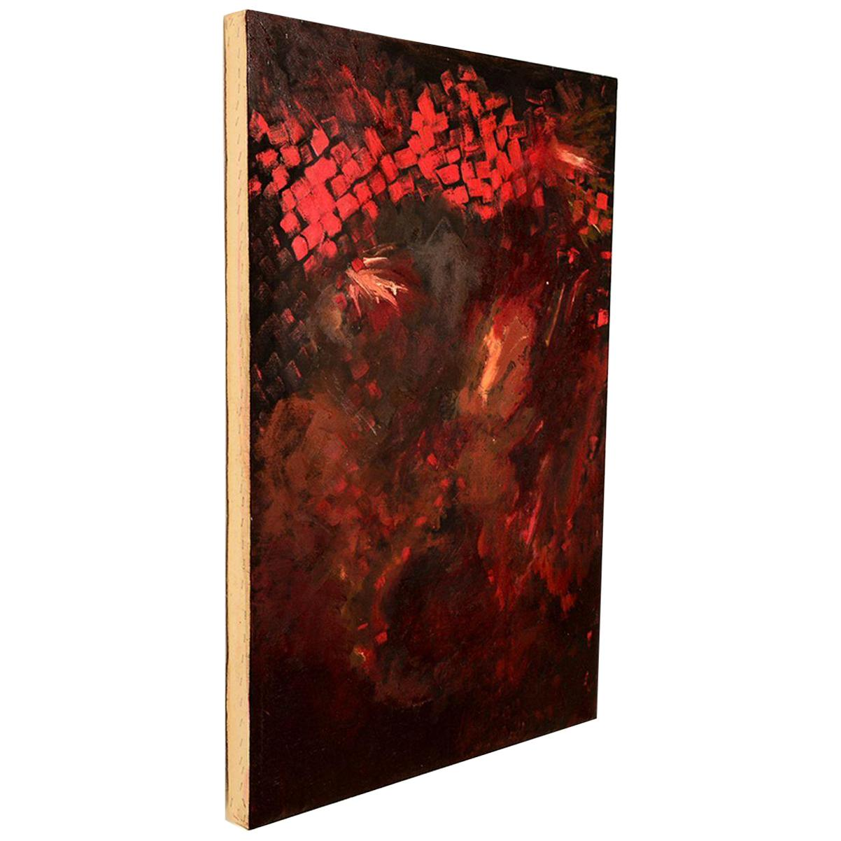 Abstract Oil Canvas Explosive Red Mid-Century Modern Francis Bacon Style