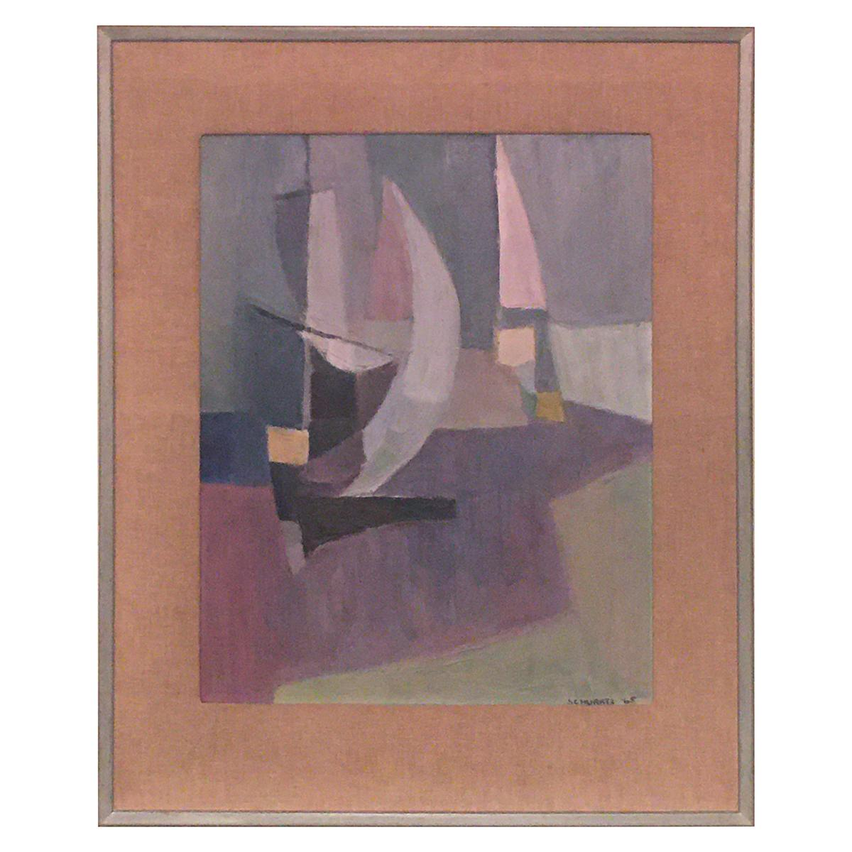 Abstract Oil on Board by Schwartz Dated 1965