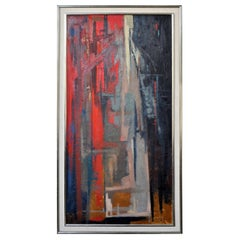 Abstract Oil on Board Painting by Walter Prochownik, Urban Song