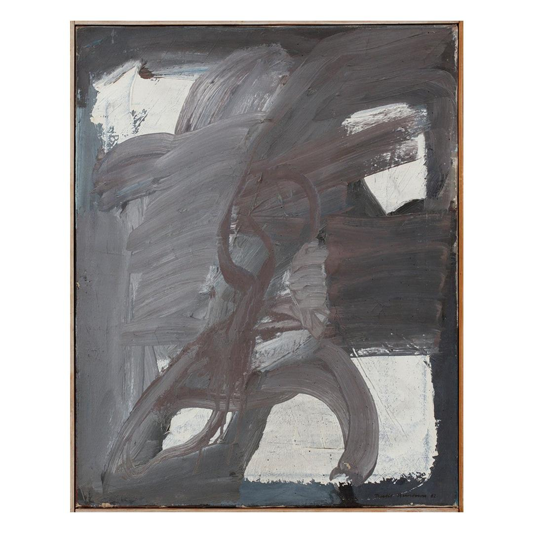 Abstract Oil on Canvas Painting and Pine Frame by Bertil Berntsson, Sweden 1960s