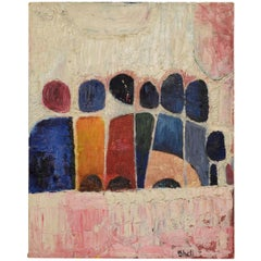 """Abstract Oil on Canvas Painting Signed """"Shell"""", Mid-Century Modern"""