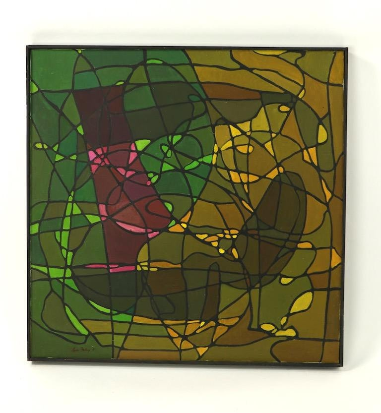 Abstract Oil on Canvass Painting by Noted Vermont Artist Lois Foley '1981' For Sale 4