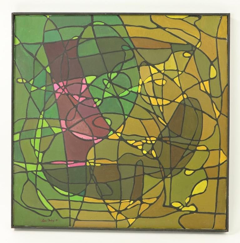 Abstract oil on canvass of tonal greens, pinks and yellows with back wandering line structure, signed and dated Lois Foley '81. This example is in very fine original condition, clean and ready to hang. Lois Foley was a noted artist with a long and