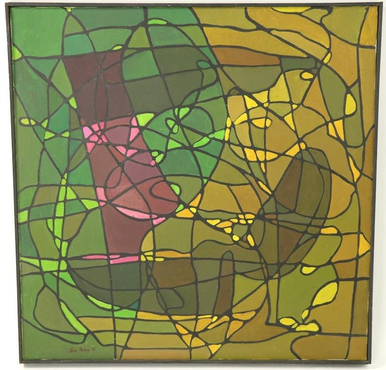 Modern Abstract Oil on Canvass Painting by Noted Vermont Artist Lois Foley '1981' For Sale