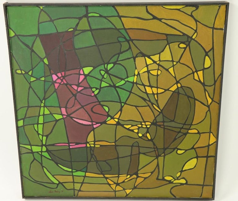 American Abstract Oil on Canvass Painting by Noted Vermont Artist Lois Foley '1981' For Sale