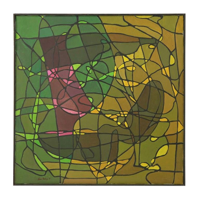 Abstract Oil on Canvass Painting by Noted Vermont Artist Lois Foley '1981' For Sale