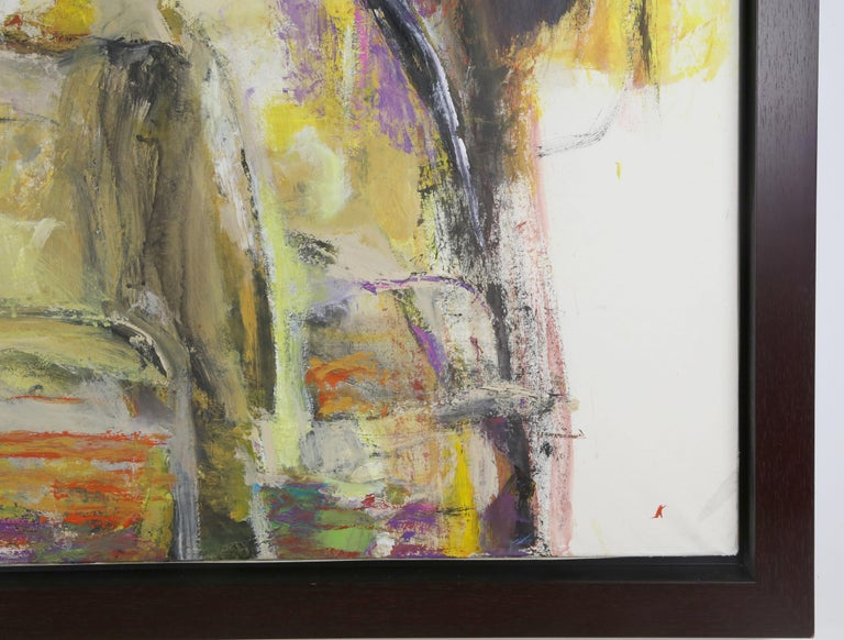 Modern Abstract Oil on Rice Paper Painting titled