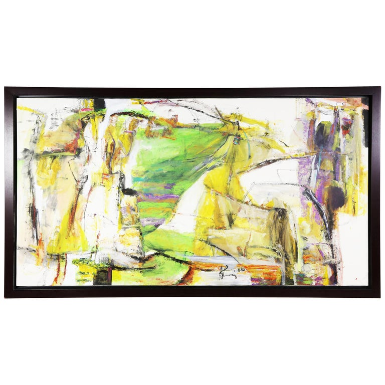 """Abstract Oil on Rice Paper Painting titled """"Terrain Africa lll"""" Andrew Lui For Sale"""