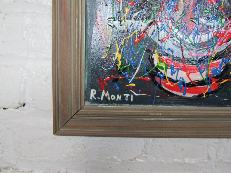 A colorful abstract oil painting by celebrated Pennsylvania-based artist R. Monti, framed and signed by artist. Please confirm item location with seller (NY/NJ).