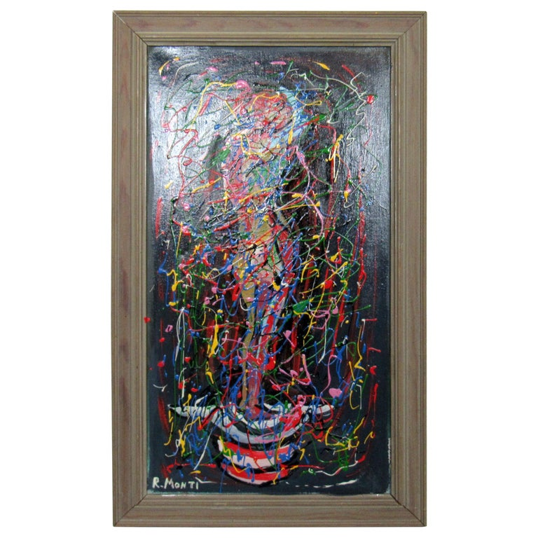 Abstract Oil Painting by R. Monti For Sale
