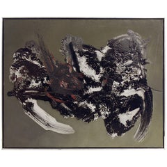 Abstract Oil Painting Illegibly Signed, 1961