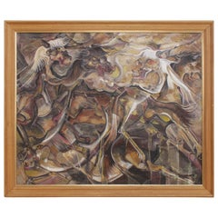 Abstract Oil Painting of Horses, circa 1994