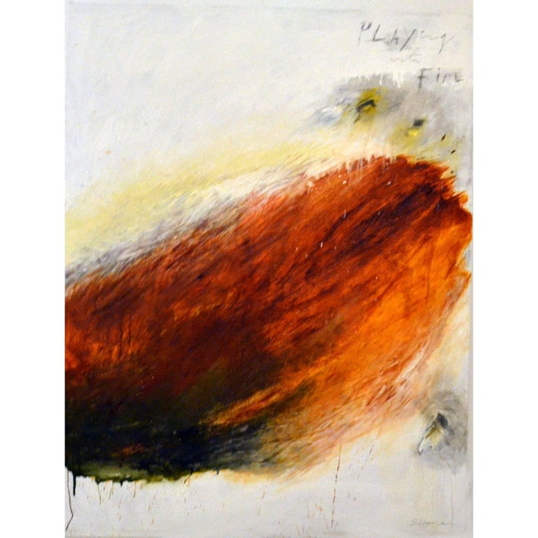 Abstract Oil Painting Titled Playing with Fire by Brian Hagiwara