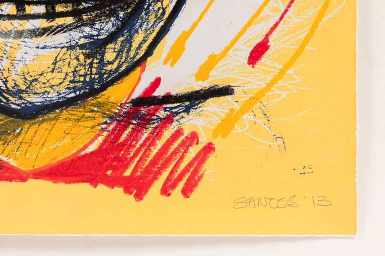 Abstract Oil Pastel Drawing by Santos Cortes, 2013 In Good Condition For Sale In Pasadena, CA