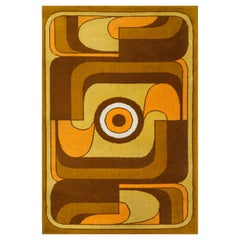 Abstract Orange, Yellow and Brown Wool Carpet, 1970s