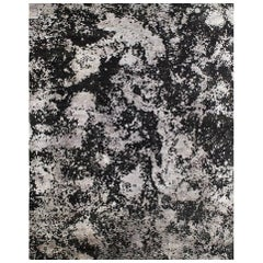 Abstract Organic Black Silver Hand-Knotted Wool and Sustainable Natural Silk Rug