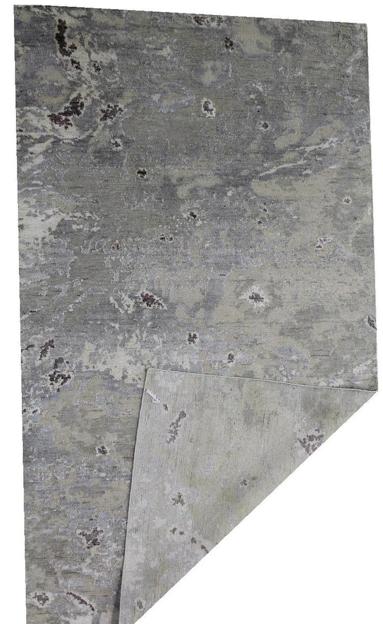 Other Abstract Organic Rug, Hand Knotted, Wool Silk, Custom Grey Silver White For Sale