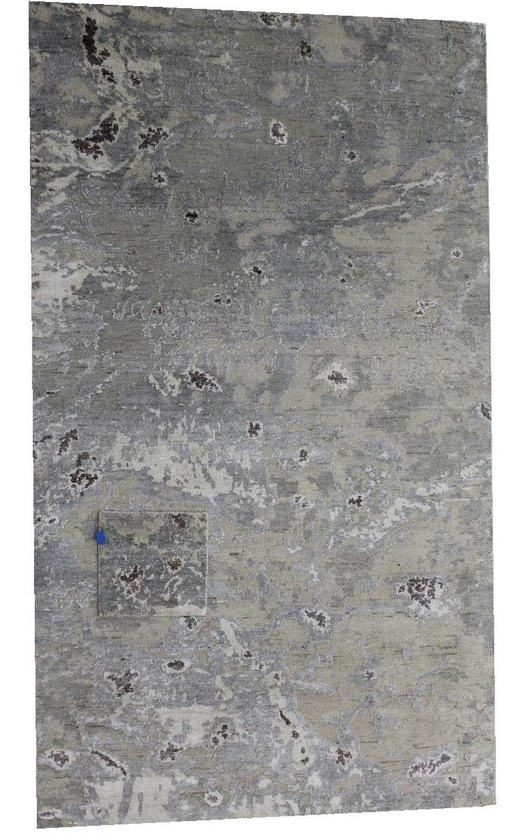 Indian Abstract Organic Rug, Hand Knotted, Wool Silk, Custom Grey Silver White For Sale