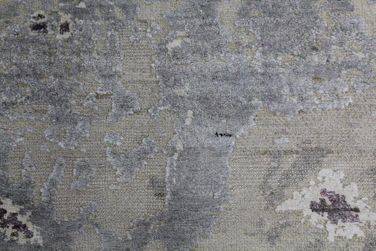 Contemporary Abstract Organic Rug, Hand Knotted, Wool Silk, Custom Grey Silver White For Sale