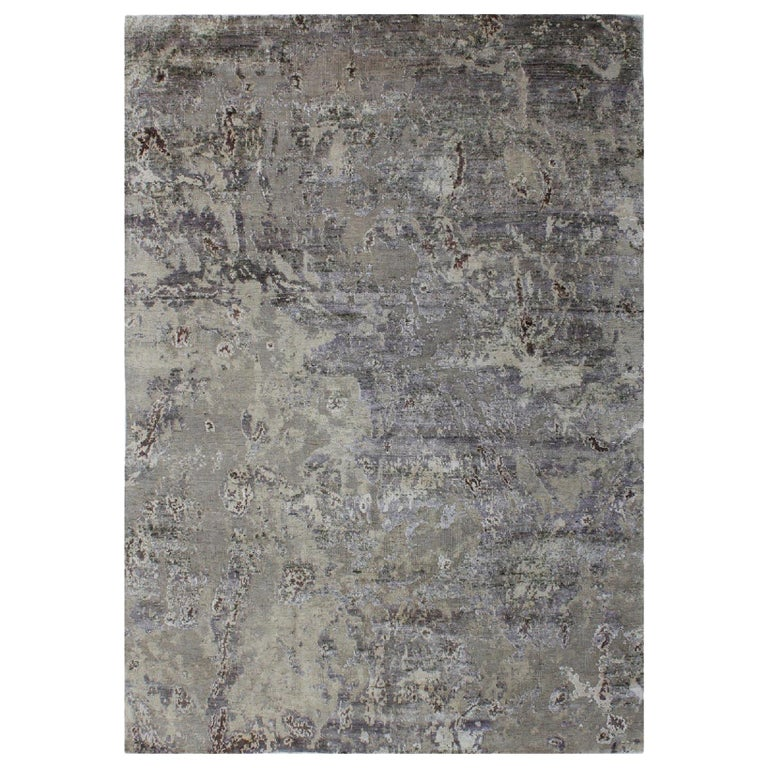 Abstract Organic Rug, Hand Knotted, Wool Silk, Custom Grey Silver White For Sale