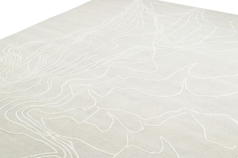 Minimalist Abstract Organic Wool and Silk Area Rug by Carini For Sale