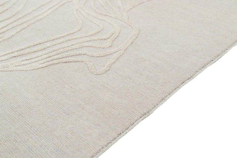 Nepalese Abstract Organic Wool and Silk Area Rug by Carini For Sale