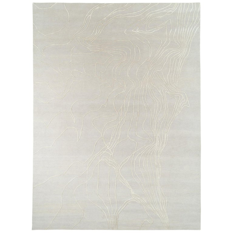 Abstract Organic Wool and Silk Area Rug by Carini For Sale