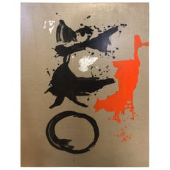 Abstract Original Painting in Orange and Black on Natural Canvas