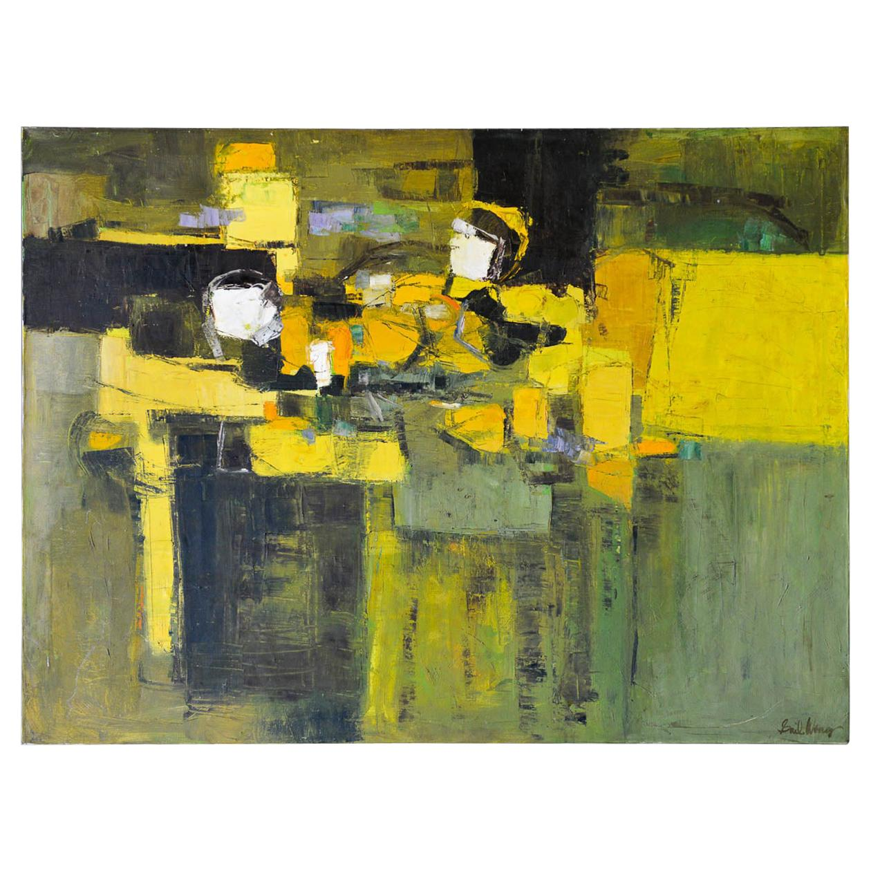 Abstract Painting by California Artist Gail Wong, ca. 1970