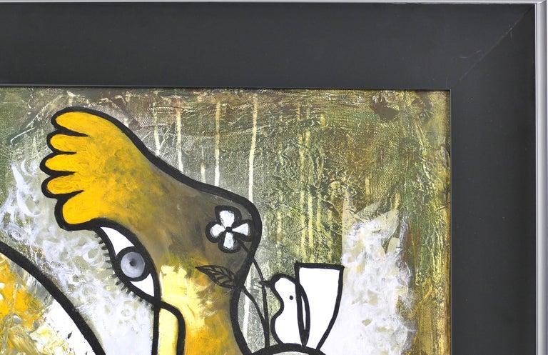 Canvas Abstract Painting by Cuban Artist Hiremio Santaolaya