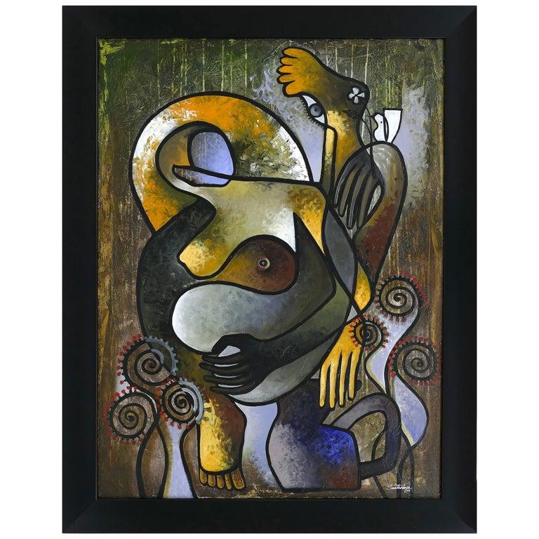 "Abstract Painting by Cuban Artist Hiremio Santaolaya ""Autocontemplacion"", 2019 For Sale"