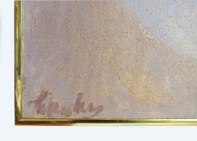 Abstract landscape. Oil on canvas by Jimmy Leuders. (Am. 1927-1995).