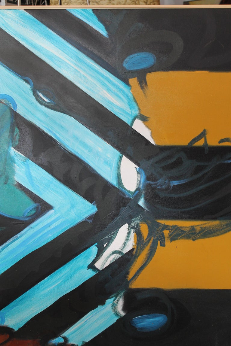 Abstract painting on canvas by California artist Kyle Glenn. Signed on the lower left hand side. Painting measures 53.25