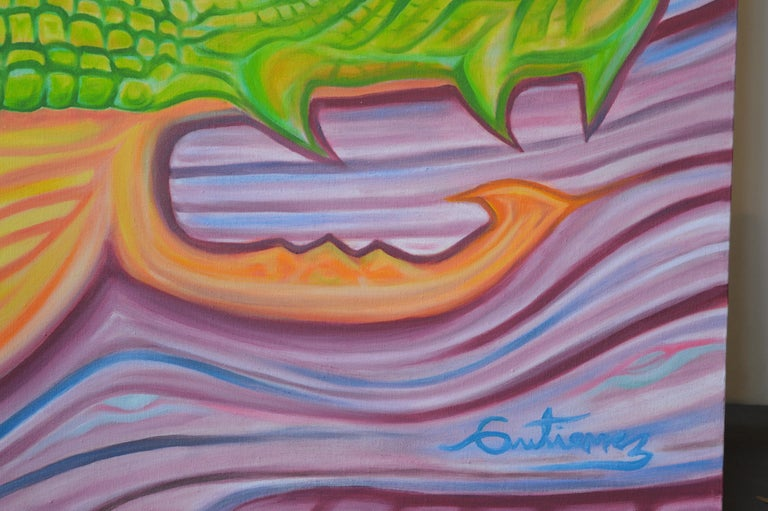 Hand-Painted Abstract Painting by Lucho Gutierez For Sale
