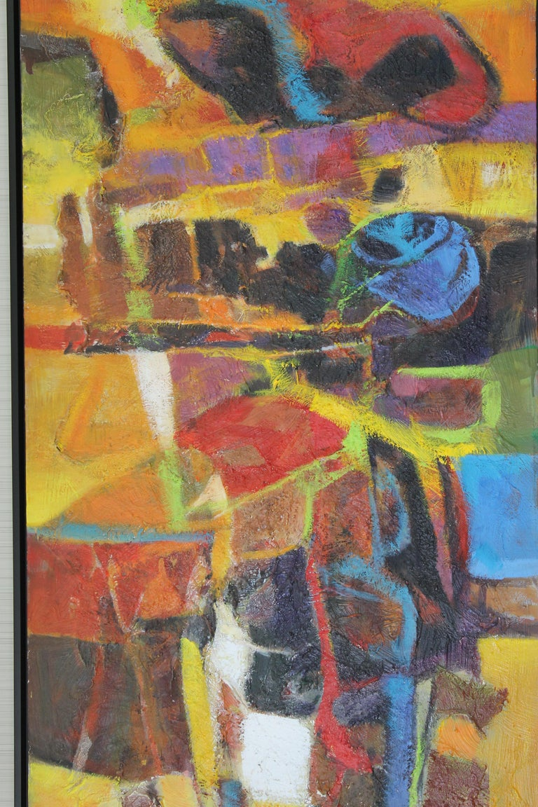 Large and vibrant oil on canvas by Palm Springs artist Val A. Samuelson (Vallance Arnold Samuelson 1913 - 2000). Mr. Samuelson used fabric and sand to achieve a highly textured surface in this dramatic piece. Signed lower right. Measurements are