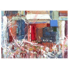 """Abstract Painting by William Phelps Montgomery """"Red Thread"""" Mixed-Media, 2019"""