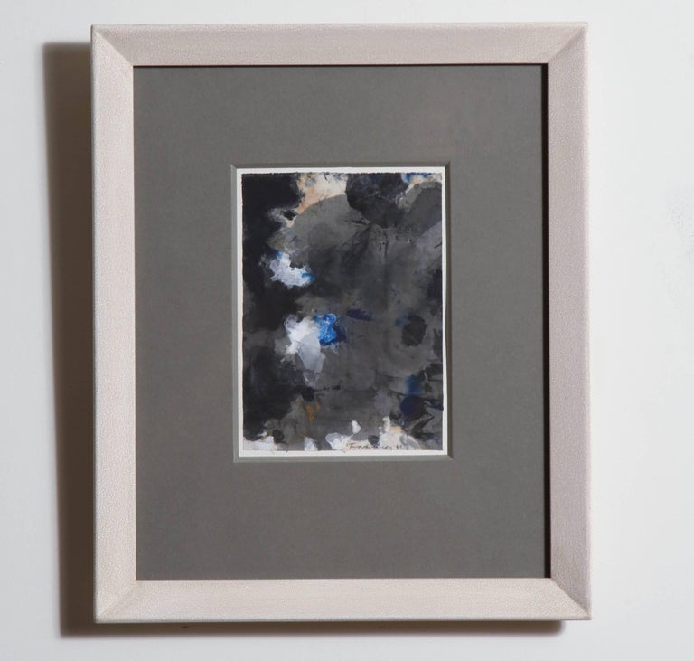 Abstract lyrical gesture painting on silk, circa 1961 in a crackled gesso frame - signature illegible.