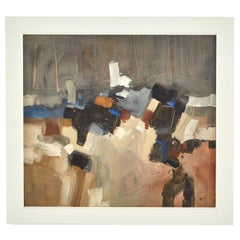 Abstract Painting of Browns and Blues in White Frame by Artist Malcolm Chandler
