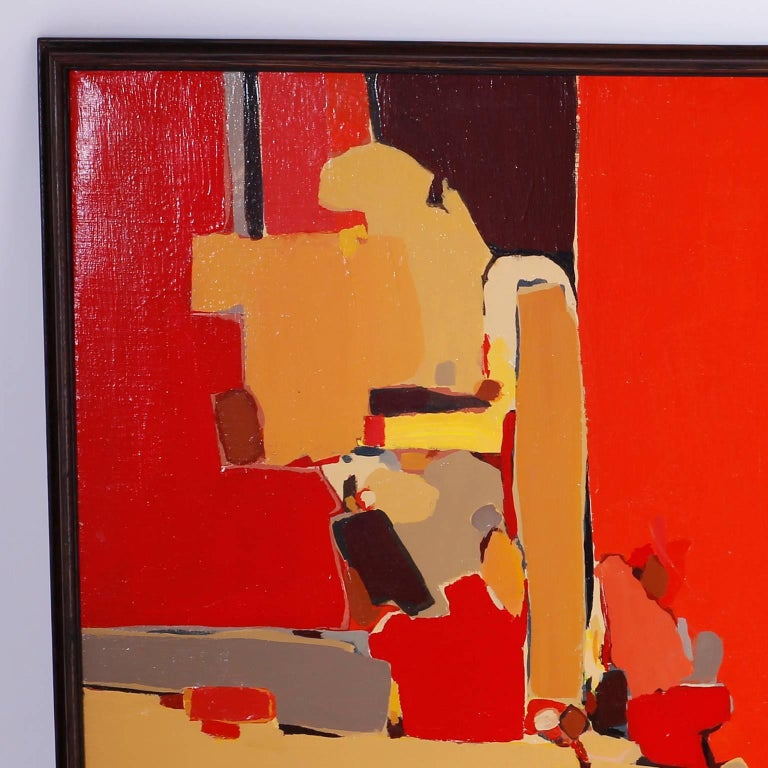 Midcentury acrylic abstract painting on canvas with an exciting palette and a bold confident style, expertly conceived and executed. Signed Halpern on the lower right and titled