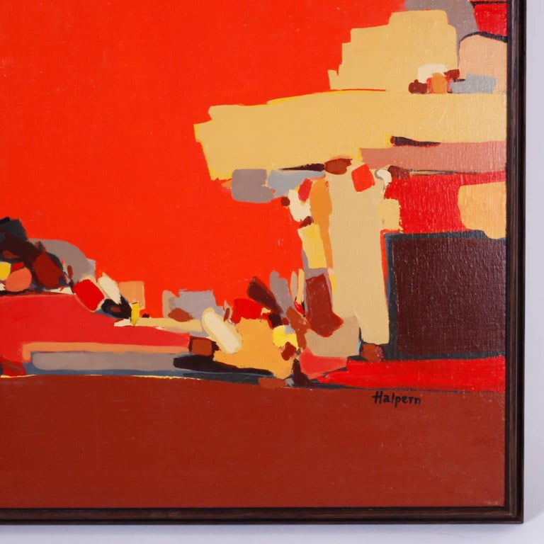 Mid-Century Modern Abstract Painting on Canvas For Sale