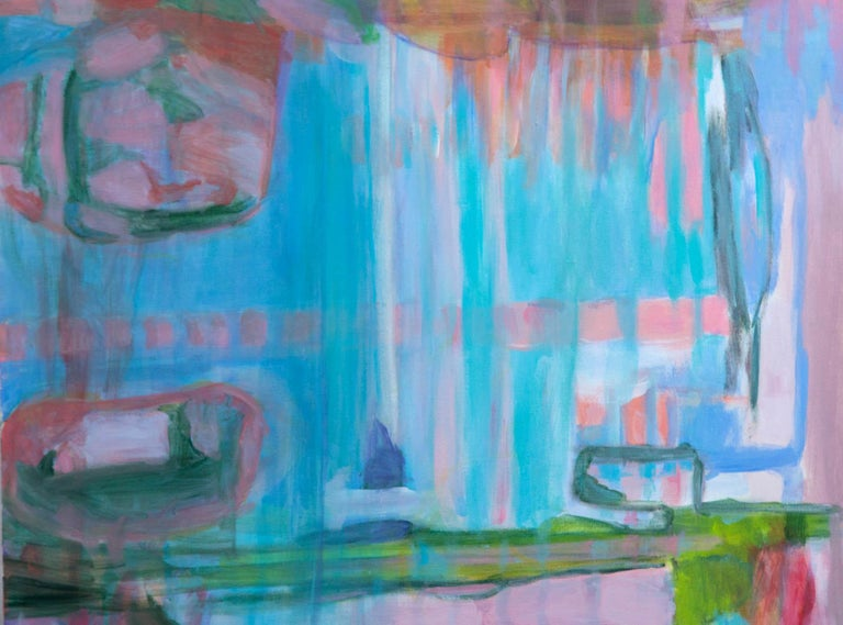 Abstract painting on canvas, pinks, blues, greens. Signed mali on reverse.