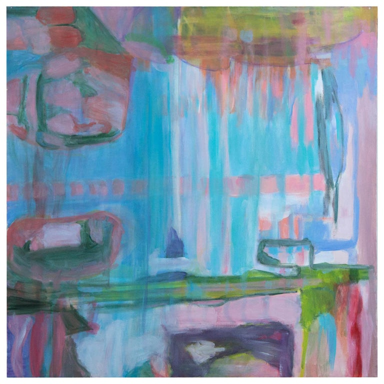 Abstract Painting on Canvas, Pinks, Blues, Greens For Sale