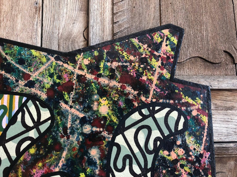 Wood Abstract Painting Signed D. Filov For Sale